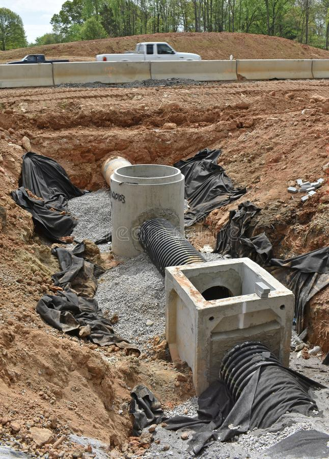 Drainage under construction near interstate highway. Drainage under construction for an interstate highway project is shown in an incomplete stage on a SC royalty free stock photos
