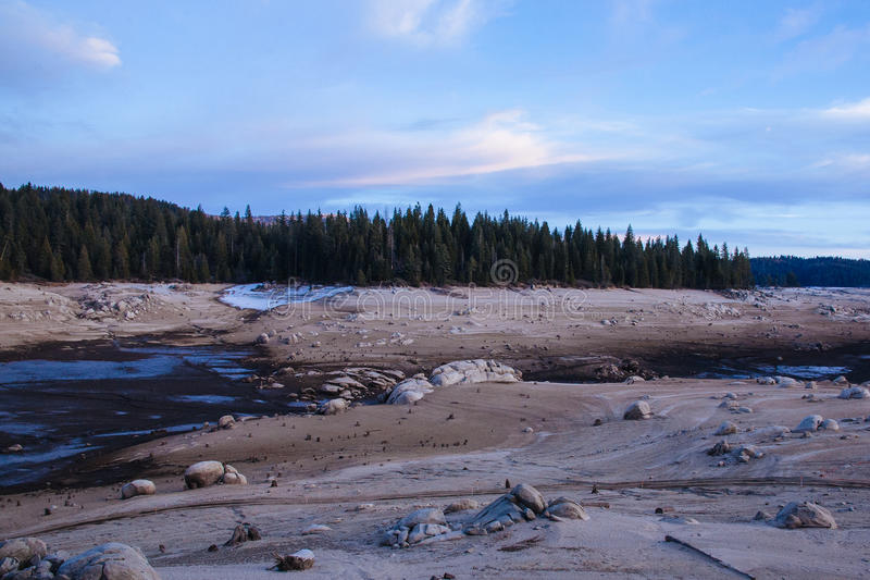 Drained Reservoir in Sierra Nevada, California. (Shaver Lake stock photography