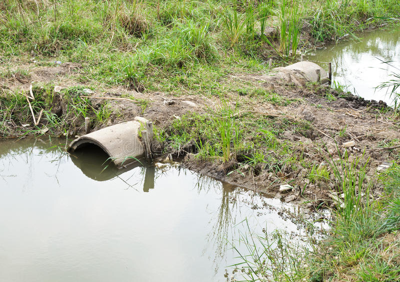 Drains pipe. In small canal behind the factory royalty free stock images