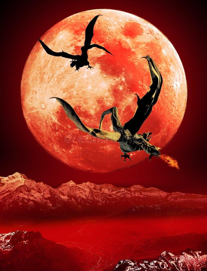 Drakar från den röda månen stock illustrationer