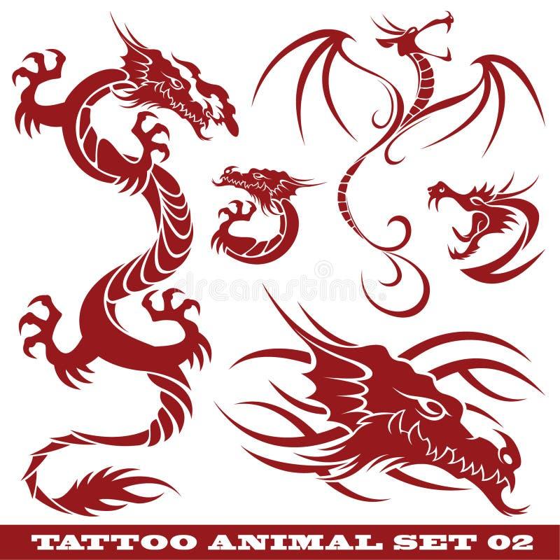 drakar inställd tatuering royaltyfri illustrationer