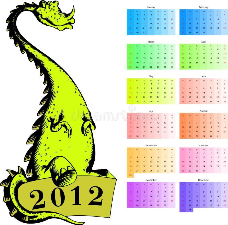 drake för 2012 kalender vektor illustrationer