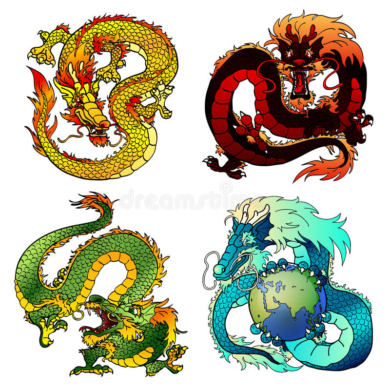 Drake för färg för slughet för uppsättning fyra asiatisk stock illustrationer