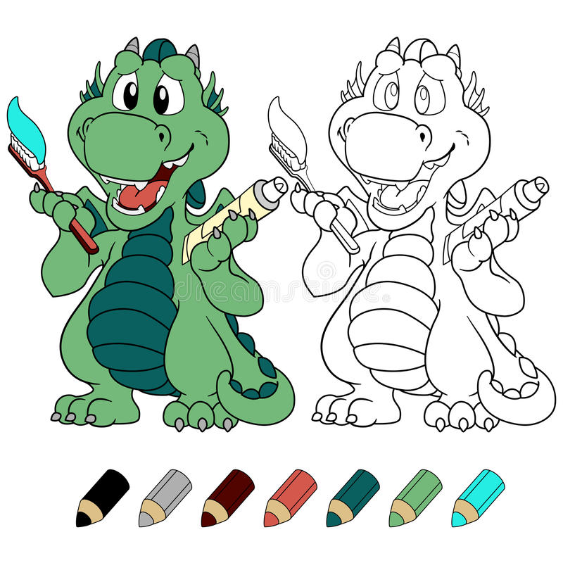 Drake för mintkaramell för Ð-¡ ute med version för tandkräm- och tandborstefärgläggningbok royaltyfri illustrationer