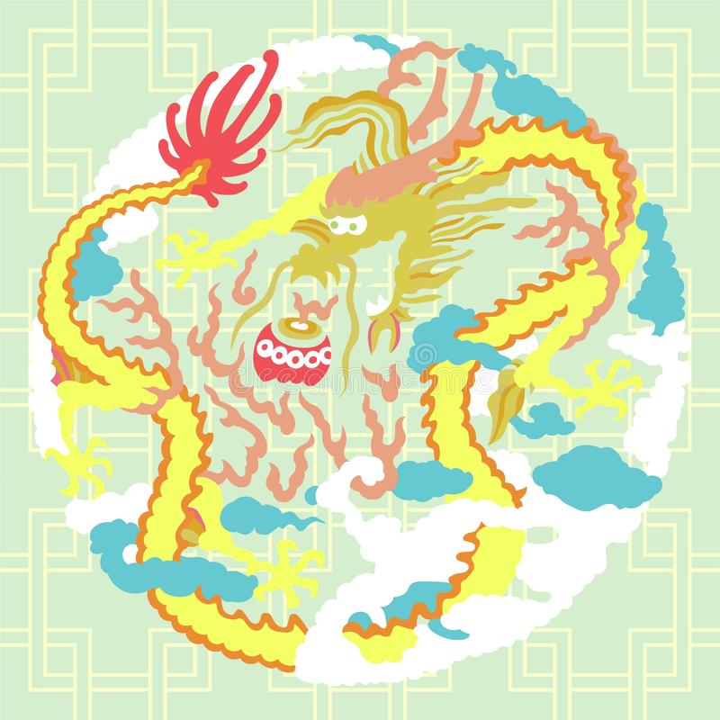 Drake med moln royaltyfri illustrationer