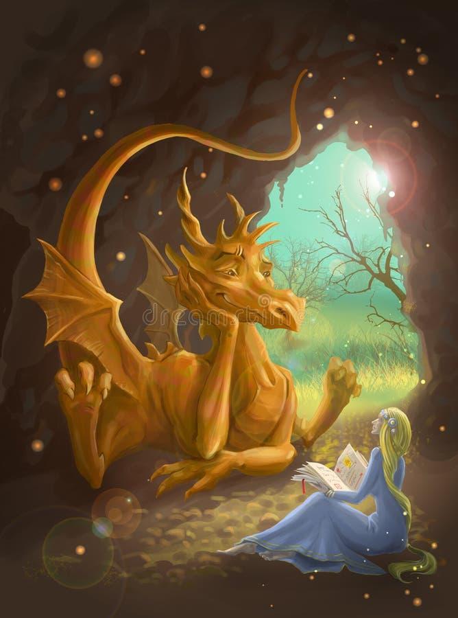 Drake och princessläsning en boka stock illustrationer