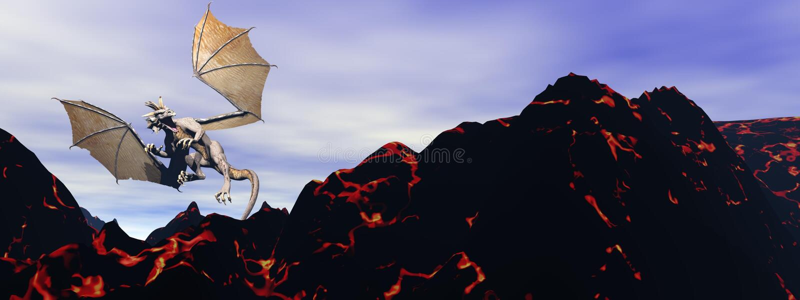 Drake och vulkan stock illustrationer