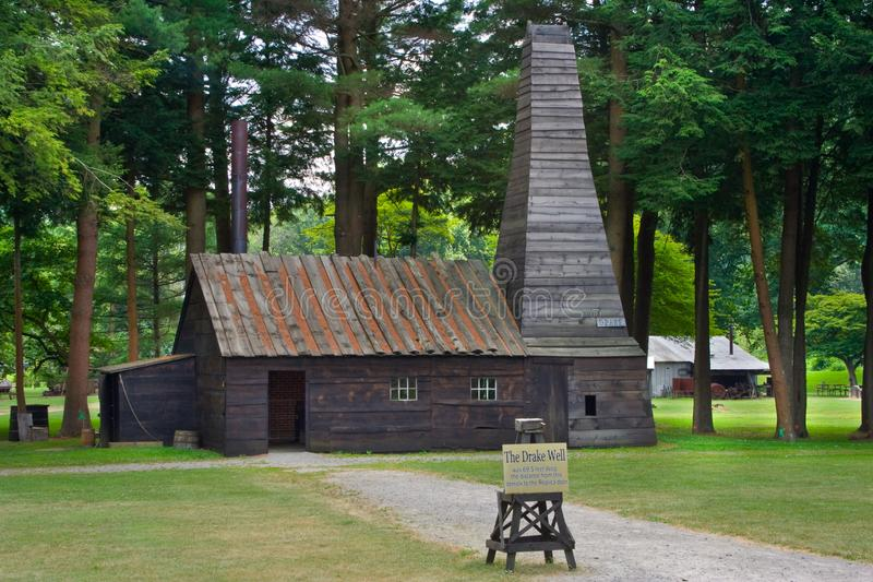 The Drake Oil Well in Titusville, Pa. Drake`s oil well museum and park in Titusville, Pennsylvania. The first oil well in the United States stock images