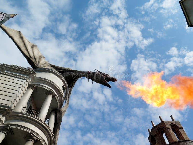 Drake på den Diagon gränden arkivfoto