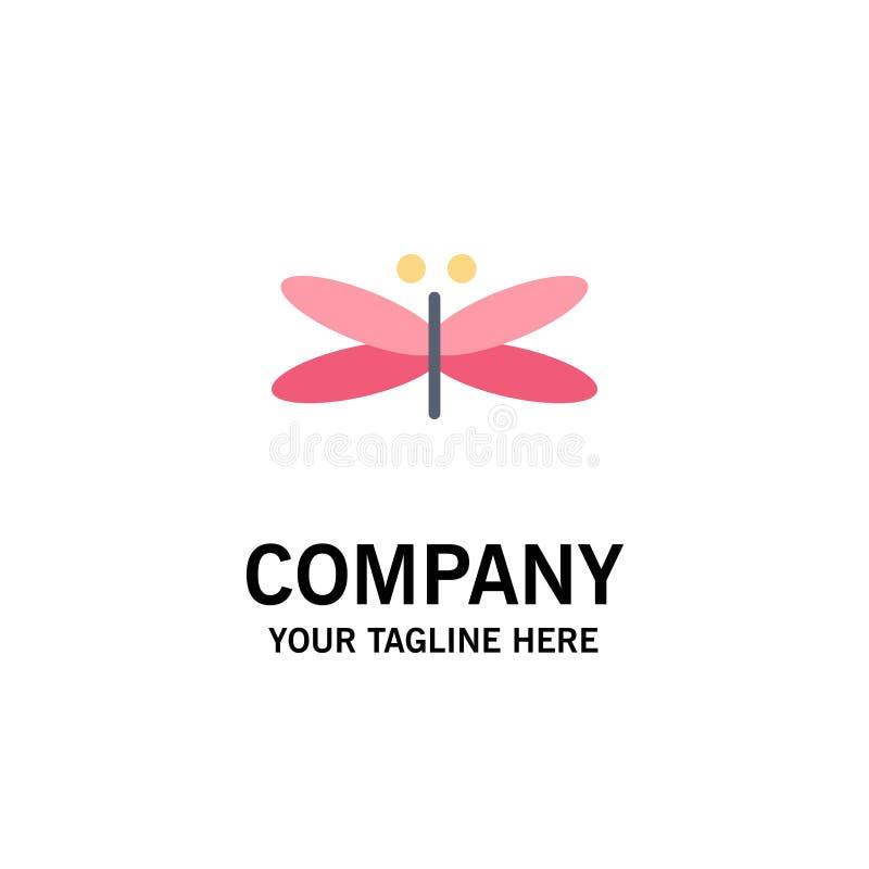 Drake slända, drakar, fluga, våraffär Logo Template plan f?rg royaltyfri illustrationer
