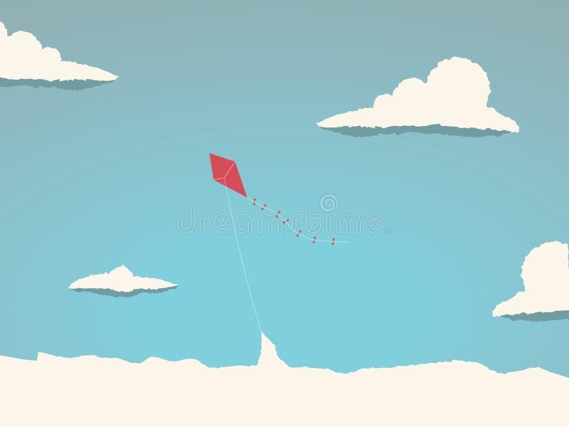Drake som högt flyger i himlen ovanför molnen Symbol av frihet, barndom, skämtsamma tider royaltyfri illustrationer