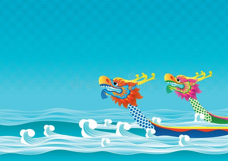 Bakgrund för drakefartygfestival vektor illustrationer