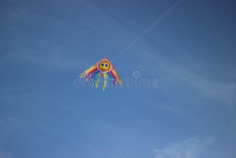 Drakeflyg i himlen royaltyfri bild