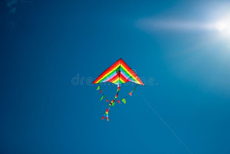 Drakeflyg i himlen fotografering för bildbyråer