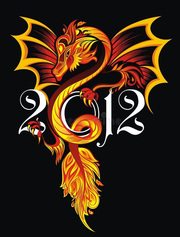 drakeillustrationtatuering stock illustrationer