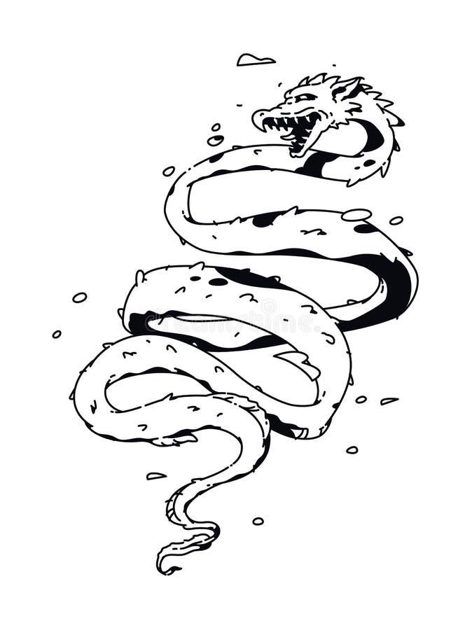 Drakeillustrationvektor Linj?r teckning f?r en tatuering F?retags maskot f?r f?retaget Illustration f?r T-tr?ja Orm som a vektor illustrationer