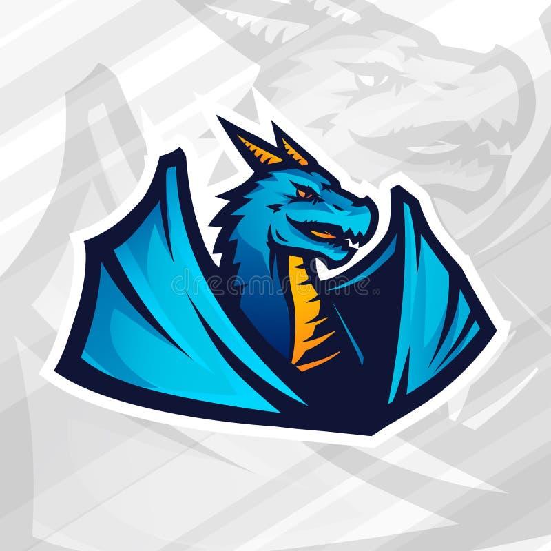 Drakelogobegrepp Fotboll- eller baseballmaskotdesign Högskolaligagradbeteckning, skolalagvektor stock illustrationer