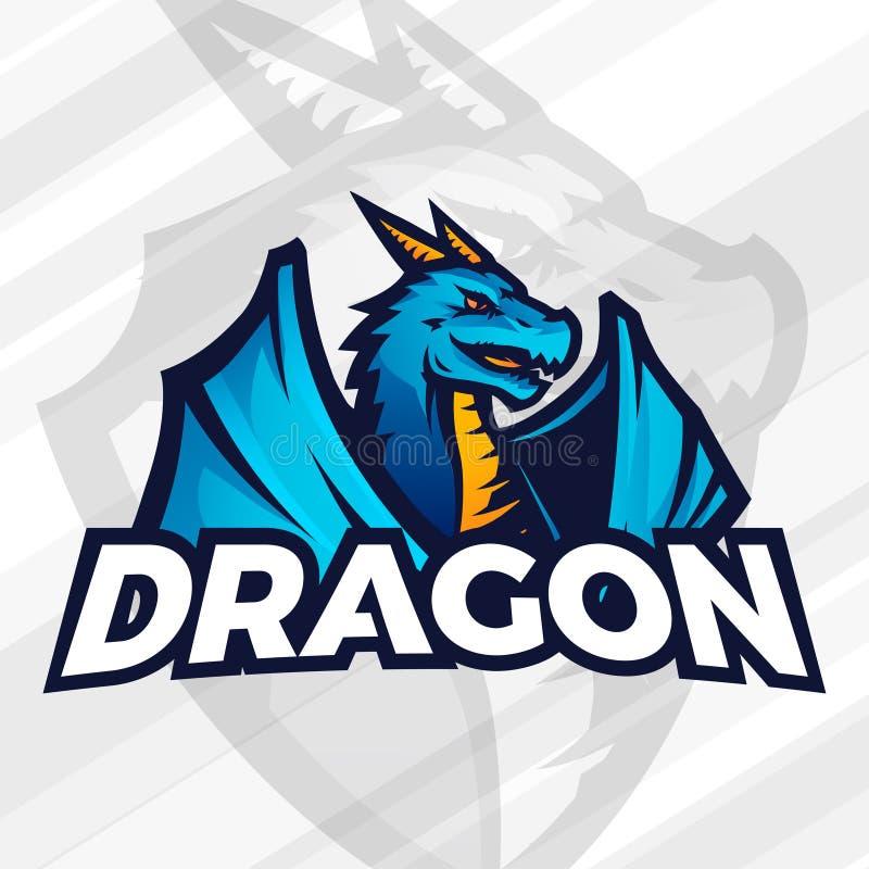 Drakelogobegrepp Sportmaskotdesign Asiatiskt fätecken, skolalagvektor stock illustrationer