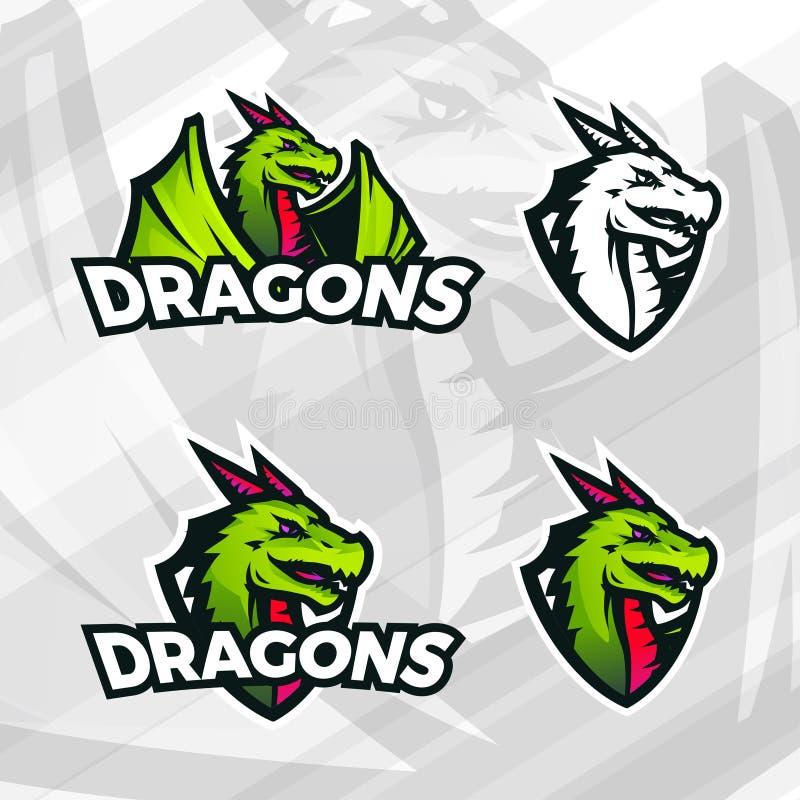 Drakelogomall Sportmaskotdesign Högskolaligagradbeteckning, asiatiskt fätecken, drakeillustration, skolalag royaltyfri illustrationer