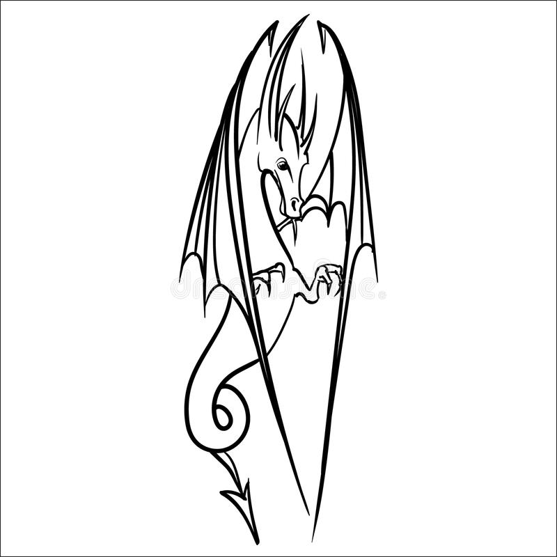 Drakelogosymbol stock illustrationer