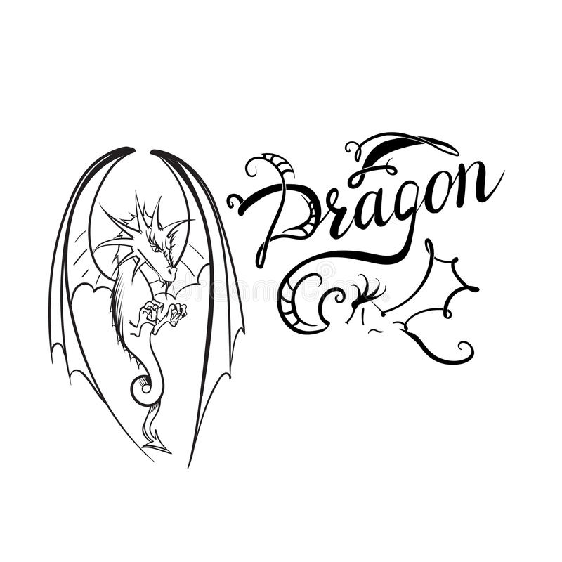 Drakelogovektor royaltyfri illustrationer