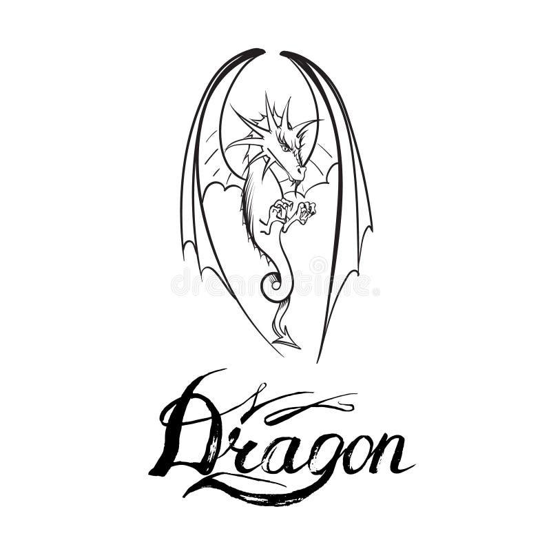 Drakelogovektorer royaltyfri illustrationer