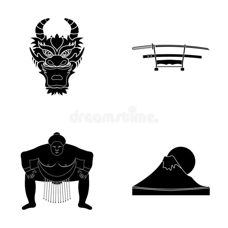 Drakemaskeringen, katano, en man är en sumospelare, ett fujiamaberg Japan ställde in samlingssymboler i svart stilvektorsymbol royaltyfri illustrationer