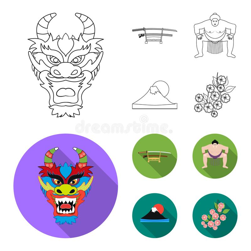 Drakemaskeringen, katano, en man är en sumospelare, ett fujiamaberg Japan ställde in samlingssymboler i översikten, lägenhetstilv stock illustrationer