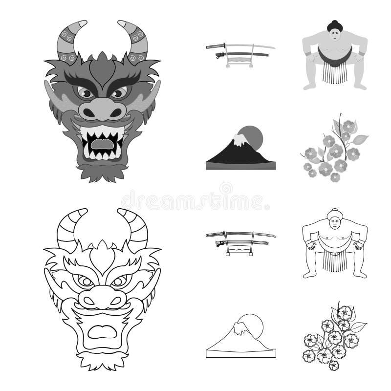 Drakemaskeringen, katano, en man är en sumospelare, ett fujiamaberg Japan ställde in samlingssymboler i översikten, monokrom stil stock illustrationer