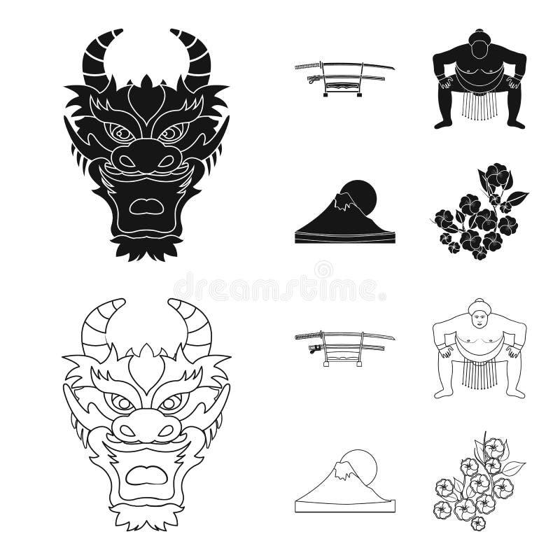 Drakemaskeringen, katano, en man är en sumospelare, ett fujiamaberg Japan ställde in samlingssymboler i svart, översiktsstilvekto vektor illustrationer