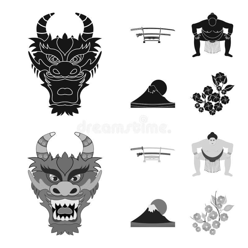 Drakemaskeringen, katano, en man är en sumospelare, ett fujiamaberg Japan ställde in samlingssymboler i svart, monochromstil vektor illustrationer