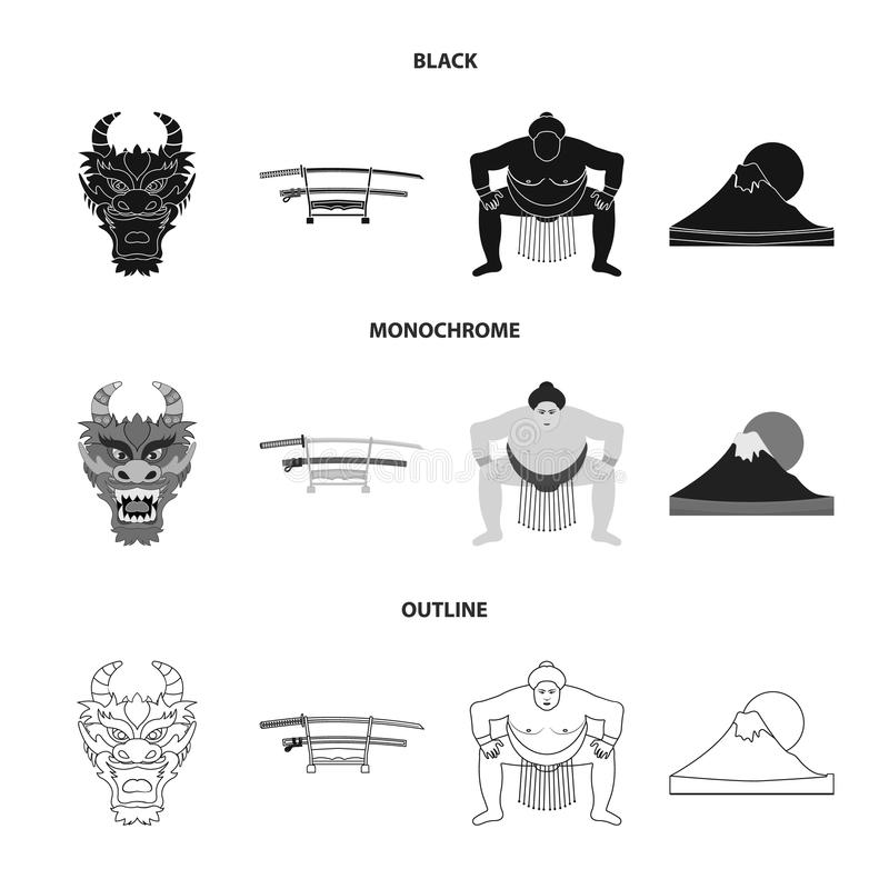 Drakemaskeringen, katano, en man är en sumospelare, ett fujiamaberg Japan ställde in samlingssymboler i svart, monokrom, översikt vektor illustrationer