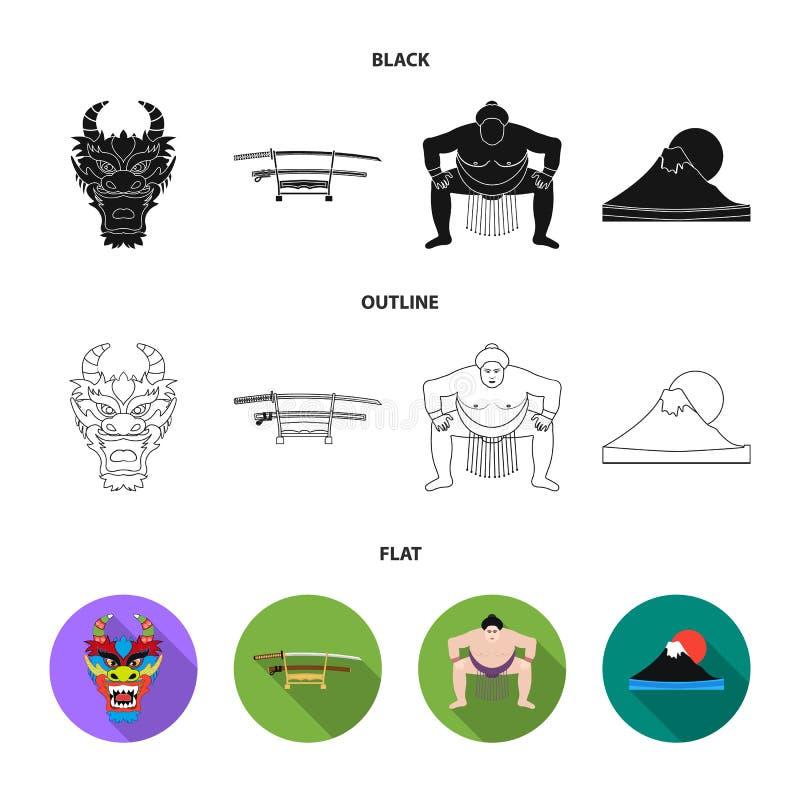 Drakemaskeringen, katano, en man är en sumospelare, ett fujiamaberg Japan ställde in samlingssymboler i tecknad filmstilvektor stock illustrationer
