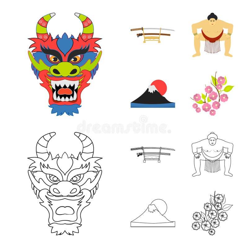 Drakemaskeringen, katano, en man är en sumospelare, ett fujiamaberg Japan ställde in samlingssymboler i tecknade filmen, översikt stock illustrationer