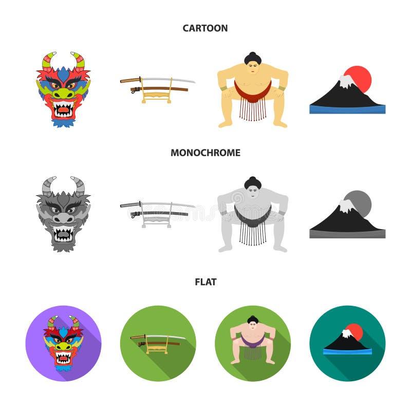 Drakemaskeringen, katano, en man är en sumospelare, ett fujiamaberg Japan ställde in samlingssymboler i tecknade filmen, lägenhet stock illustrationer