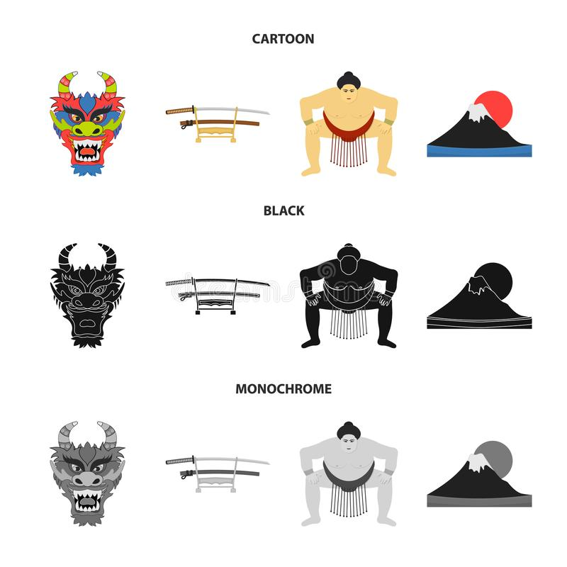 Drakemaskeringen, katano, en man är en sumospelare, ett fujiamaberg Japan ställde in samlingssymboler i tecknade filmen, svart, m royaltyfri illustrationer