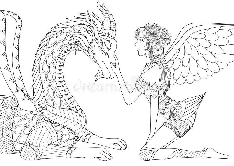 Draken är på förskoning av den härliga ängeln, linjen konstdesignen för färgläggningboken för både barn och vuxna människan och a stock illustrationer