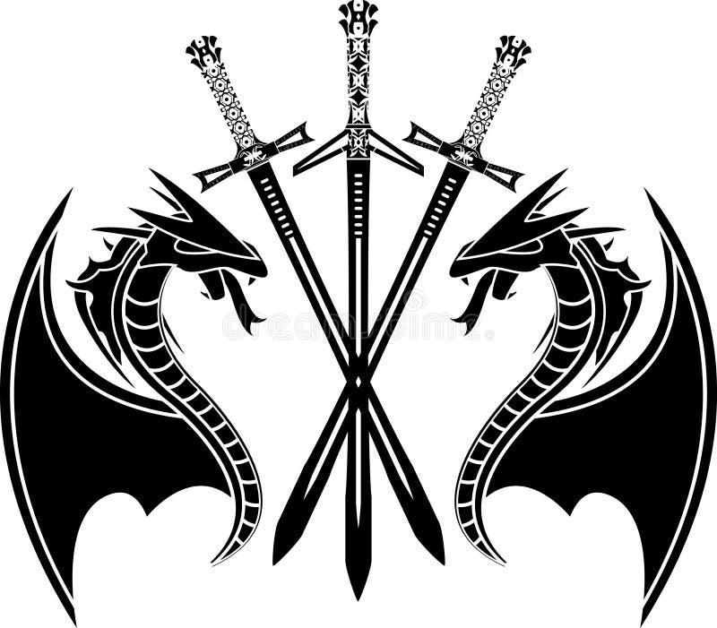Draken en zwaarden royalty-vrije illustratie