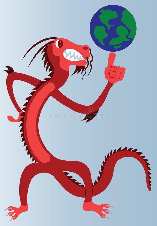 Draken med jordklotet stock illustrationer
