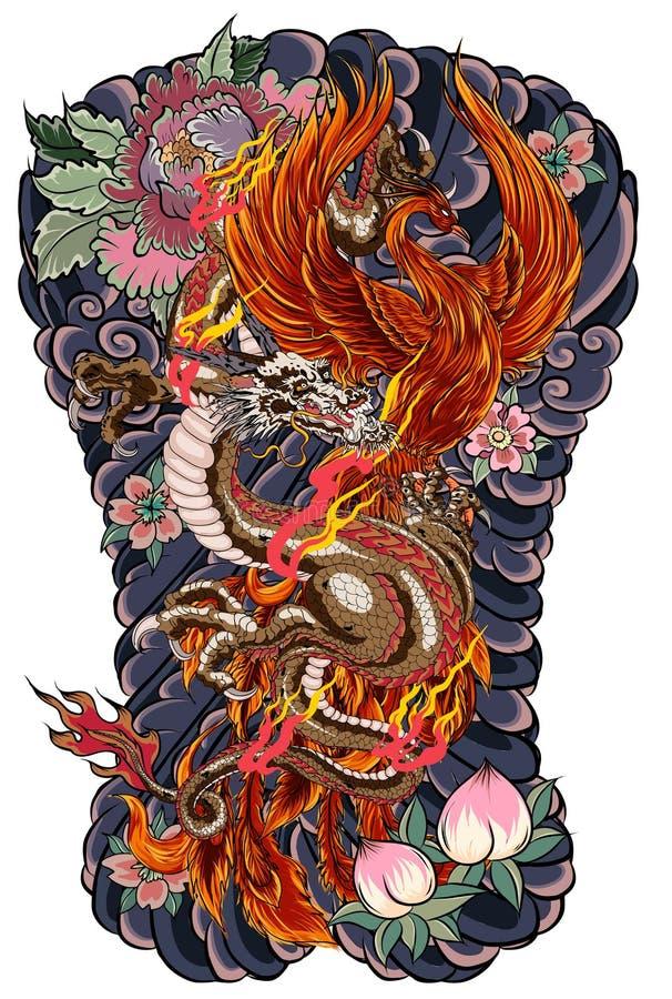 Draken och Phoenixen avfyrar fågeln med persikafruktsaft och pionblomman, den körsbärsröda blomningen, persikablomning på molnbak stock illustrationer