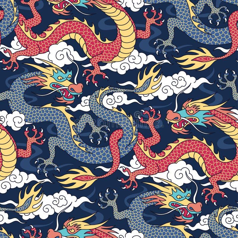 Draken op blauw patroon vector illustratie