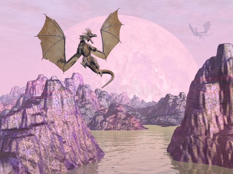 Draken op 3D rotsen - geef terug vector illustratie