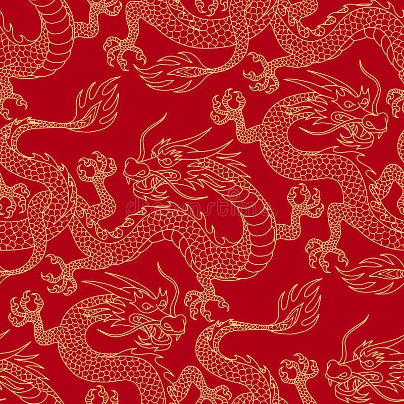 Draken op rood royalty-vrije illustratie