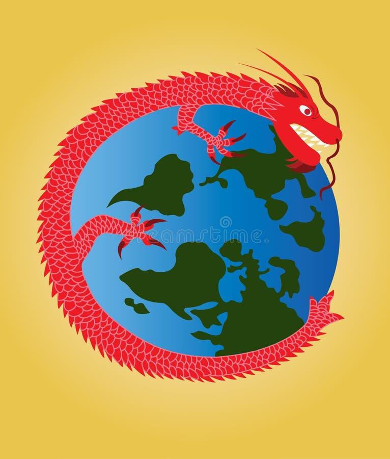 Draken runtom i världen royaltyfri illustrationer