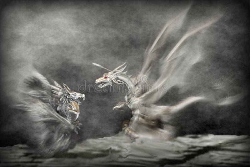 Drakenaanval stock afbeeldingen