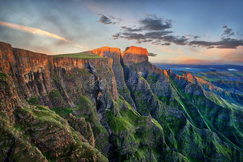 Drakensberg Amphitheatre in South Africa. Taken in 2015 stock photography