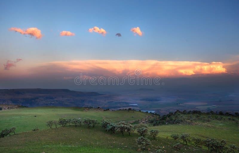 Drakensberg dusk. View over the escarpment at dusk in Drakensberg Mountains, South Africa royalty free stock photos