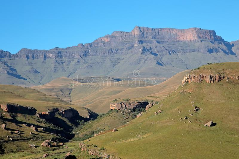 Drakensberg mountain landscape - South Africa. Scenic Drakensberg mountain landscape, Giants Castle nature reserve, South Africa stock images