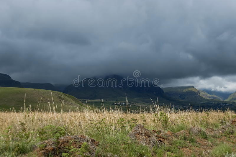 Drakensberg mountain in one stormy day stock images