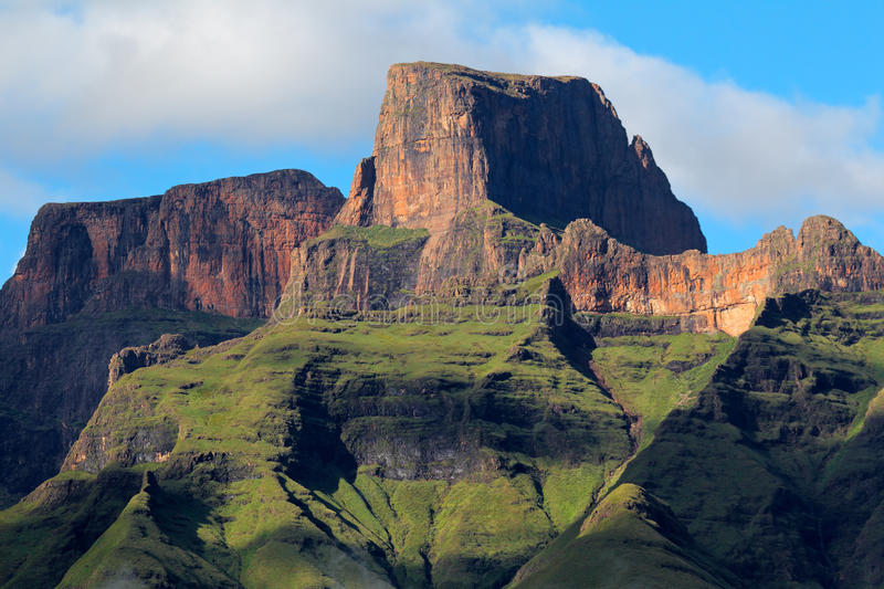 Drakensberg mountains. Sentinal peak in the amphiteater of the Drakensberg mountains, Royal Natal National Park, South Africa stock photos